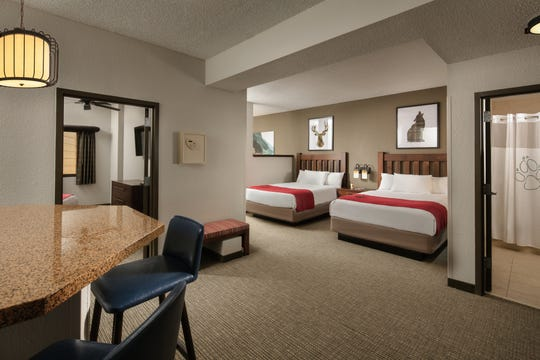 As part of a nearly $11-million renovation, all 605 guest rooms and suites, such as this Majestic Bear Suite, received an update at the Great Wolf Lodge in Grapevine.