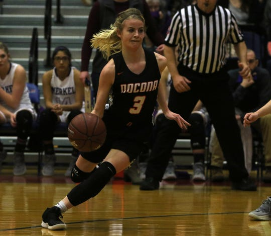 Nocona's Chloe Daughtry dribbles in the 3A area playoff against Merkel Friday, Feb. 15, 2019, in Graham.