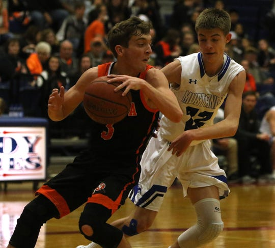 Nocona's Landry McCasland dribbles by City View's Jordan Lucas Friday, Feb. 15, 2019, in Graham. The Mustangs defeated the Indians 52-49.