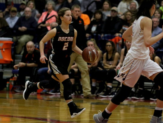 Nocona's Trystin Fenoglio dribbles in the Class 3A area playoff against Merkel, Friday, Feb. 15, 2018, in Graham.