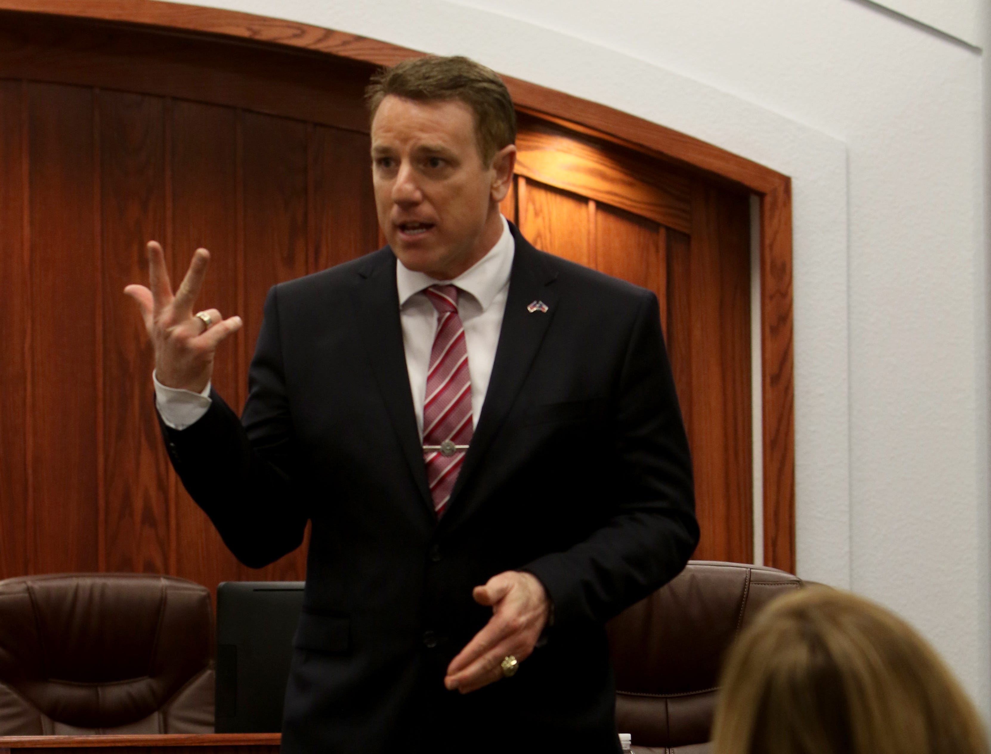 Texas Senator Pat Fallon gives a speech and an update on the 86th Texas Legislative Session during his town hall Saturday, Feb. 16, 2019, at the Clay County Courthouse Annex in Henrietta.