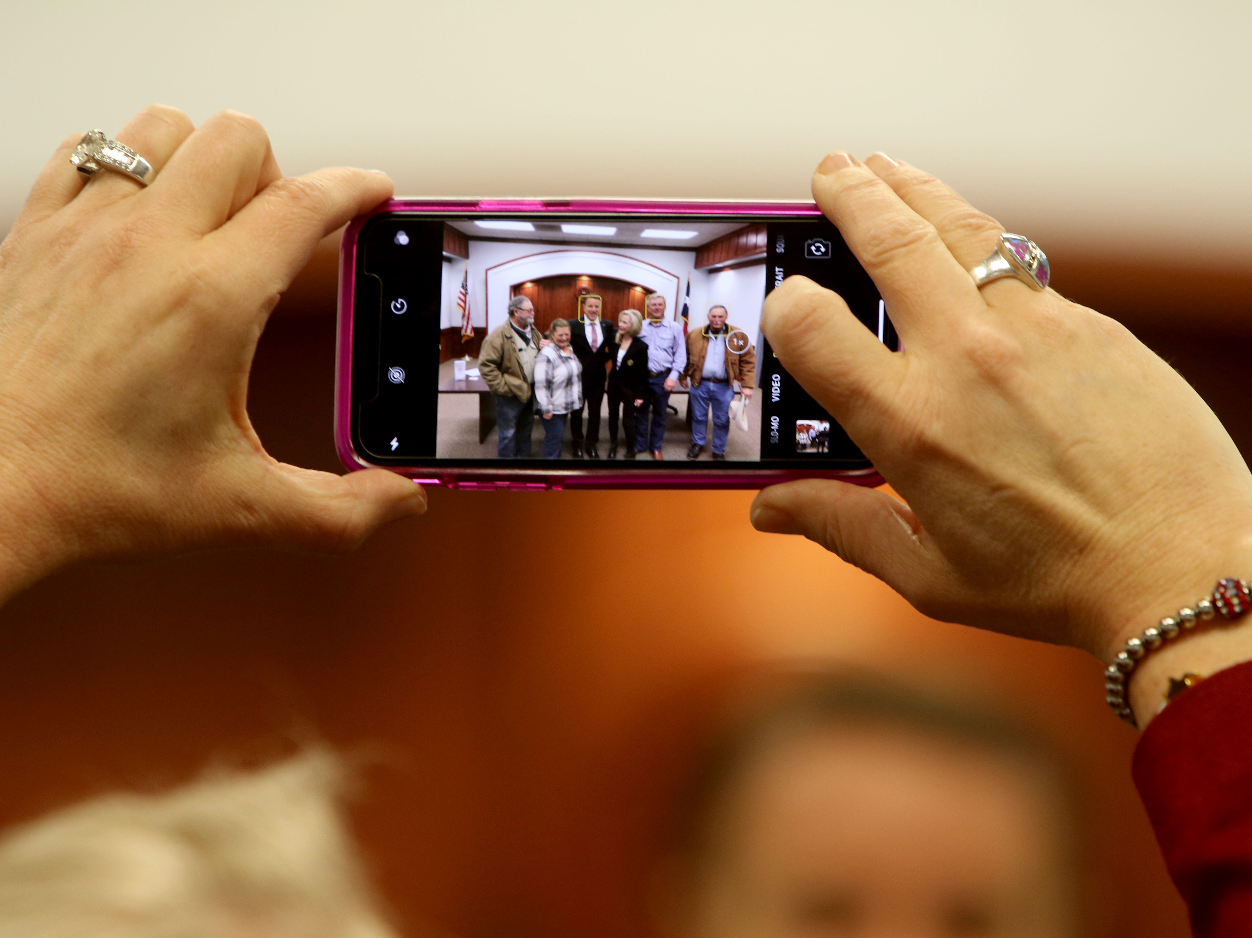 Texas Senator Pat Fallon takes a picture with constituents after his town hall Saturday, Feb. 16, 2019, at the Clay County Courthouse Annex in Henrietta.