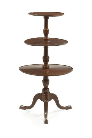 The auction catalog called this a Victorian mahogany three-tiered waiter in the Queen Anne taste made in the late 19th century, which is long way to say the table was made in a style that was in fashion 150 years earlier.