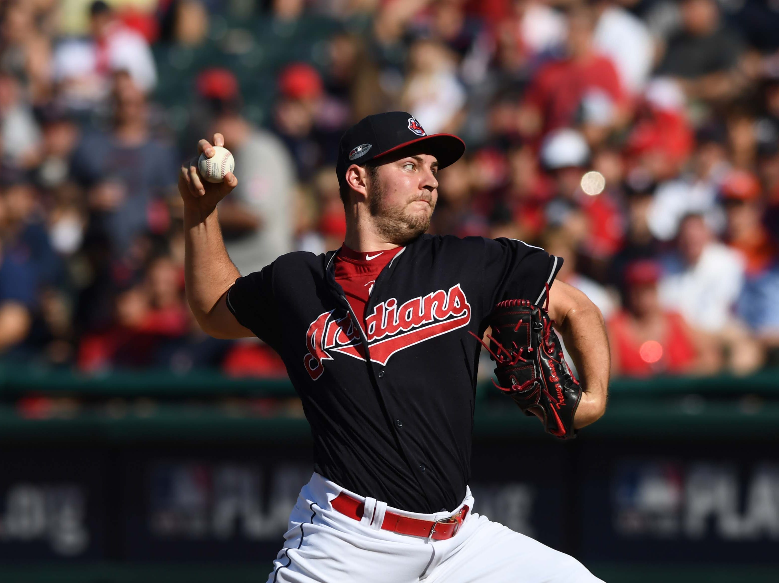 42. Trevor Bauer, Cleveland Indians starting pitcher.