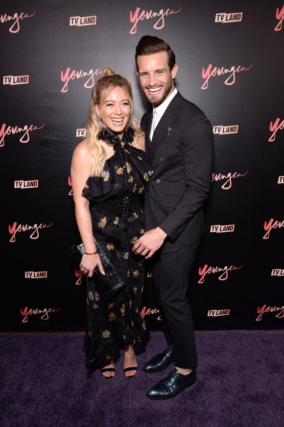 "Hilary Duff and Nico Tortorella attend the ""Younger"" season four premiere party on June 27, 2017 in New York City."