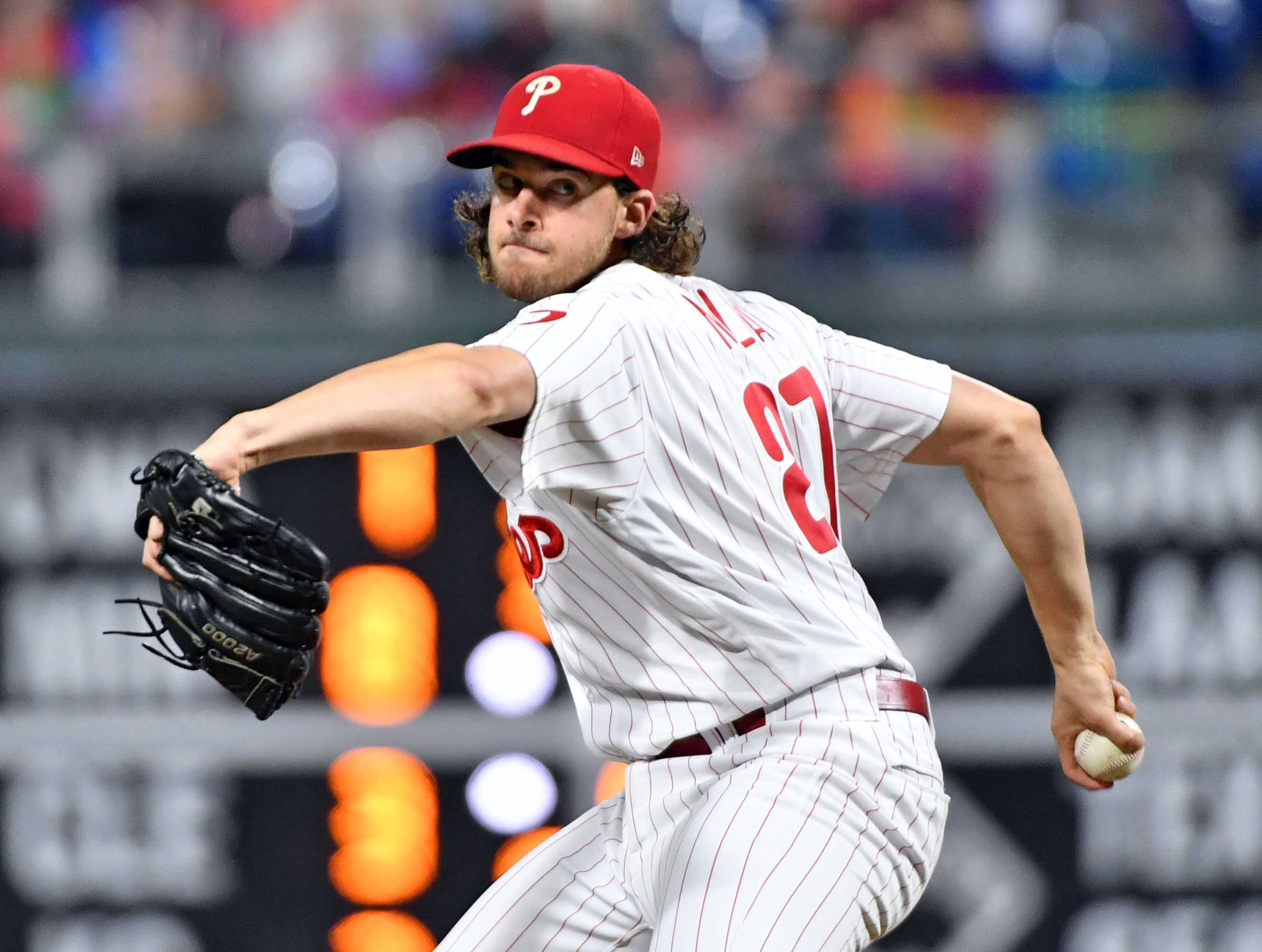 27. Aaron Nola, Philadelphia Phillies starting pitcher.