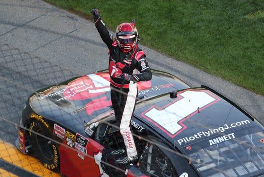Mark Christopher Chevrolet >> Michael Annett wins NASCAR Racing Experience 300 at Daytona