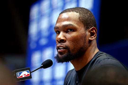 Kevin Durant speaks at NBA All-Star media day.