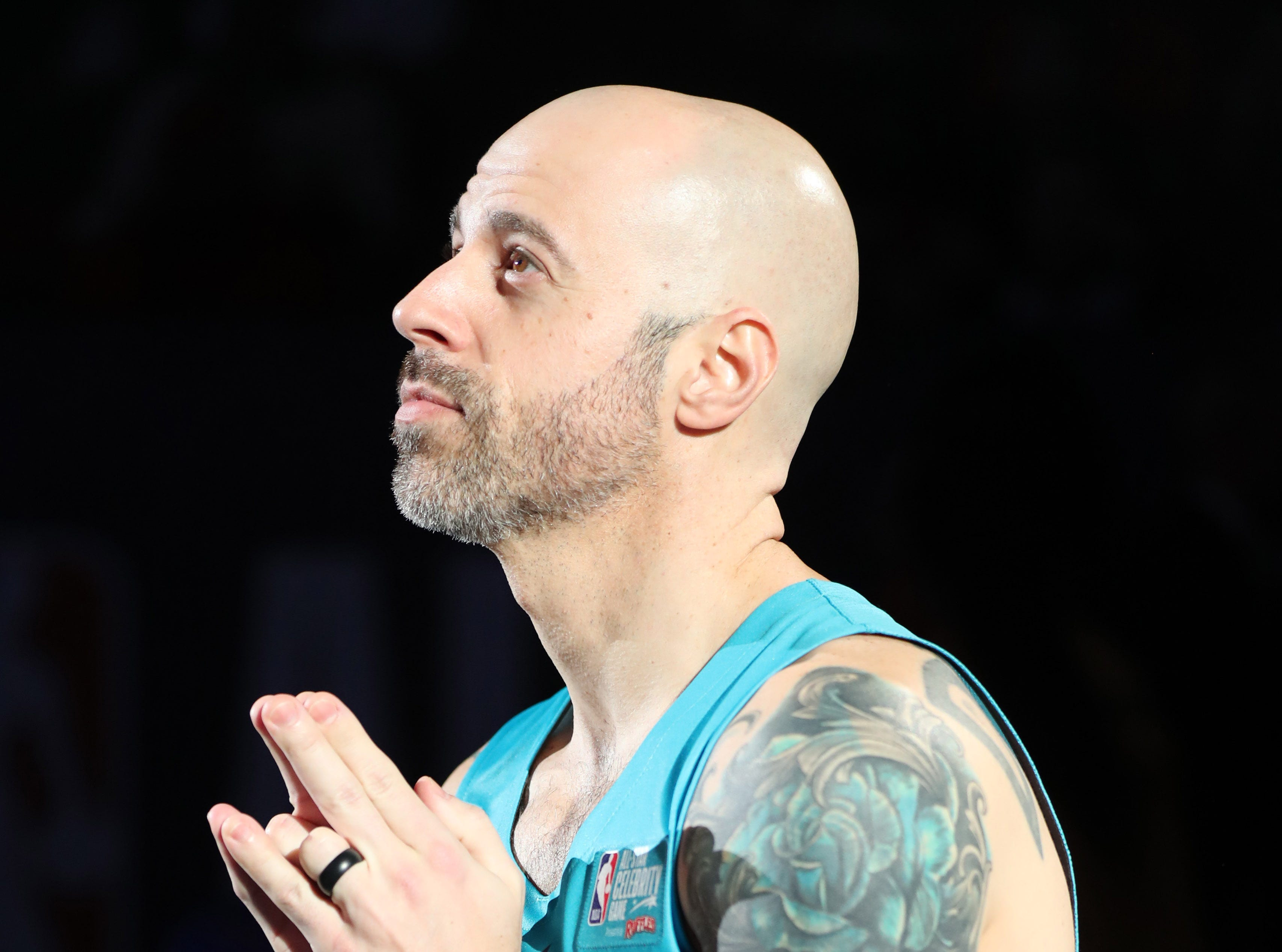 Chris Daughtry looks on before the Celebrity Game.