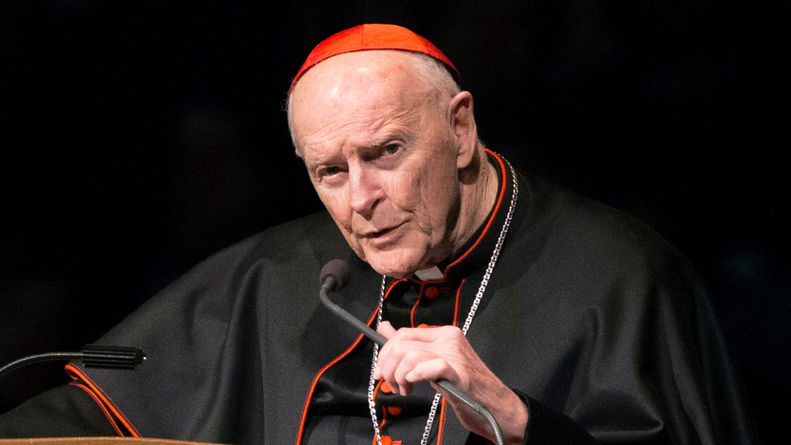 Former Cardinal Theodore McCarrick is pictured speaking during a memorial service in South Bend, Indiana.