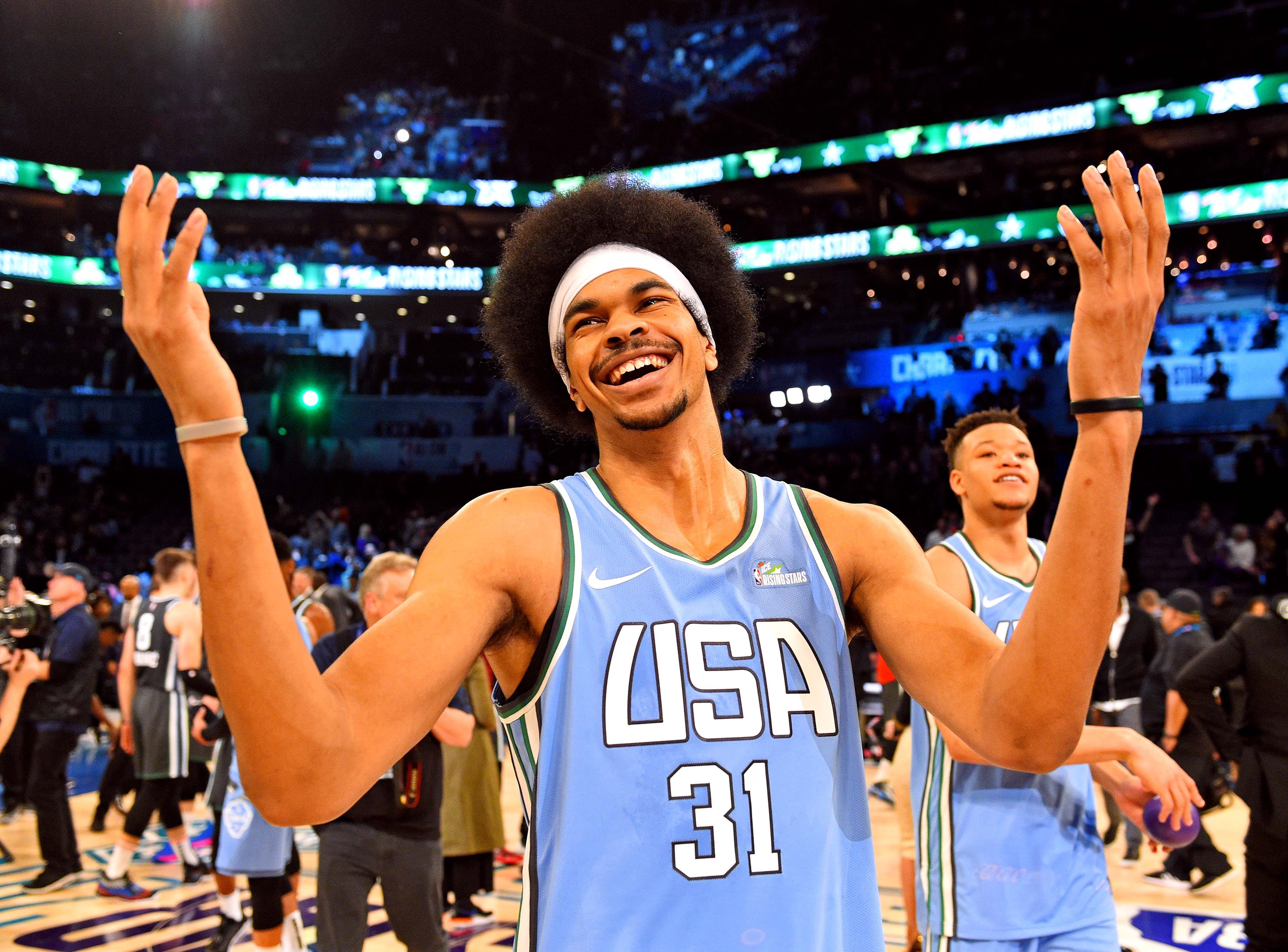 U.S. Team center Jarrett Allen of the Brooklyn Nets reacts after the All-Star Rising Stars game.