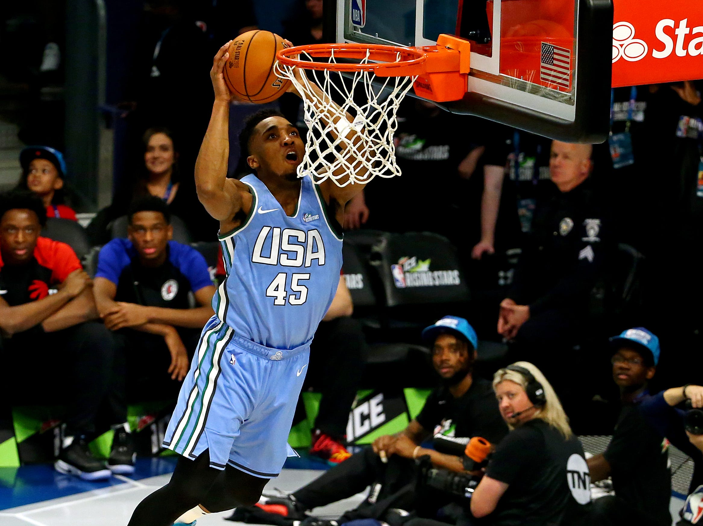 U.S. Team guard Donovan Mitchell of the Utah Jazz dunks the ball during the All-Star Rising Stars game.