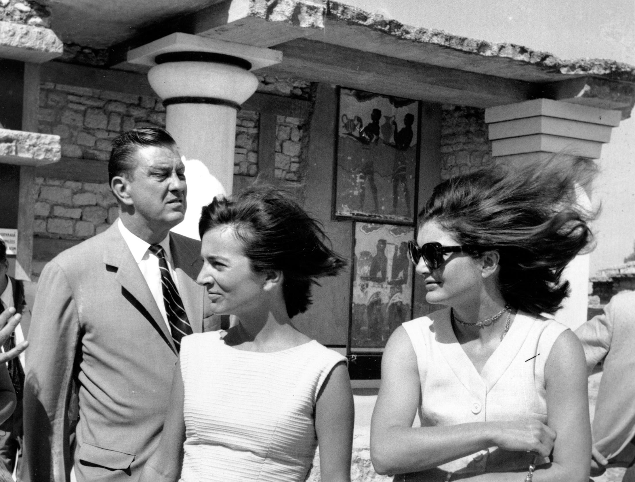 U.S. first lady Jacqueline Kennedy and her sister, Lee Radziwill, tour the Palace of Knossos during their visit to the remnants of the Minoan civilization at Iraklion on the Island of Crete in Greece on Oct. 8, 1963. The first lady is vacationing on the Mediterranean Sea.