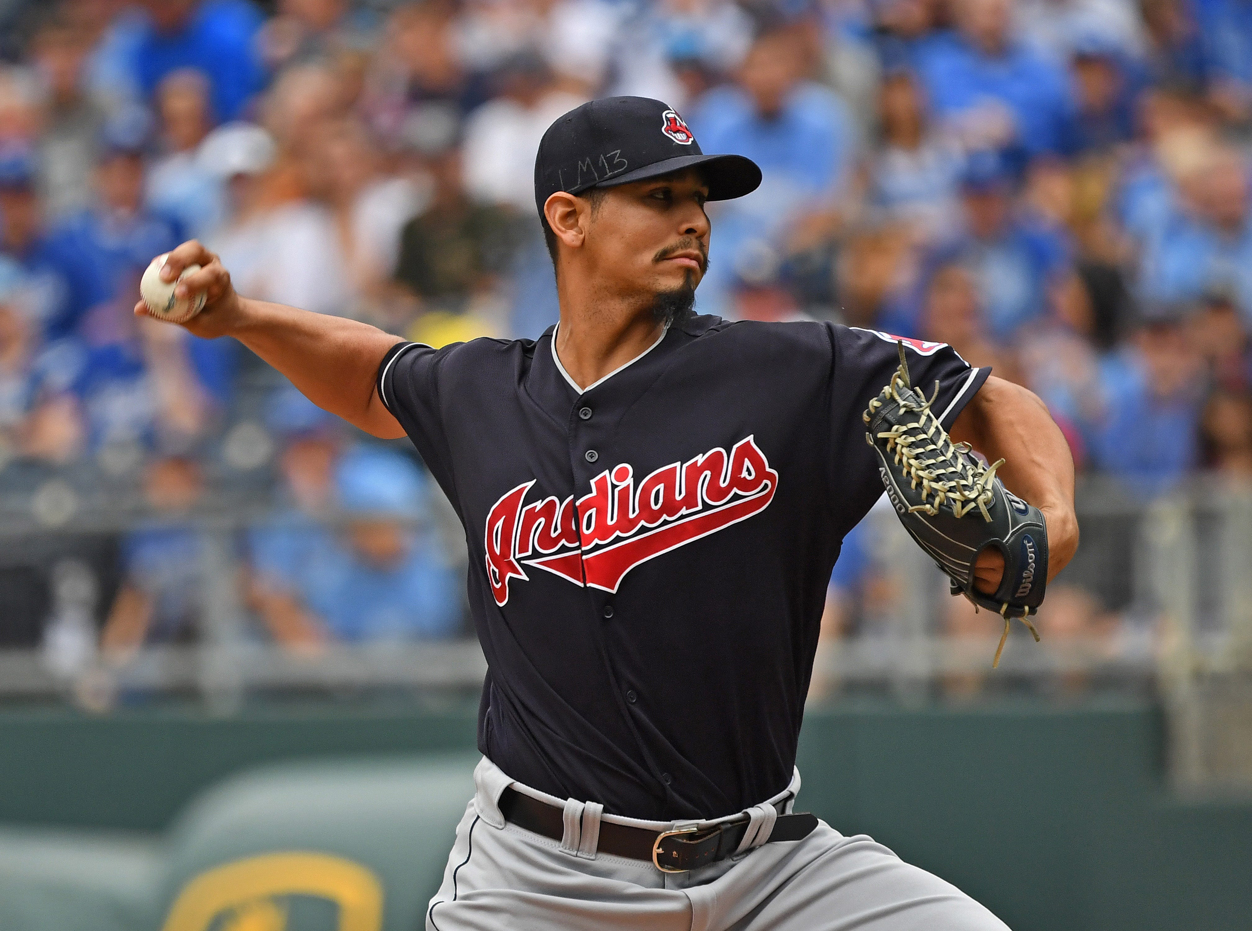 30. Carlos Carrasco, Cleveland Indians starting pitcher.