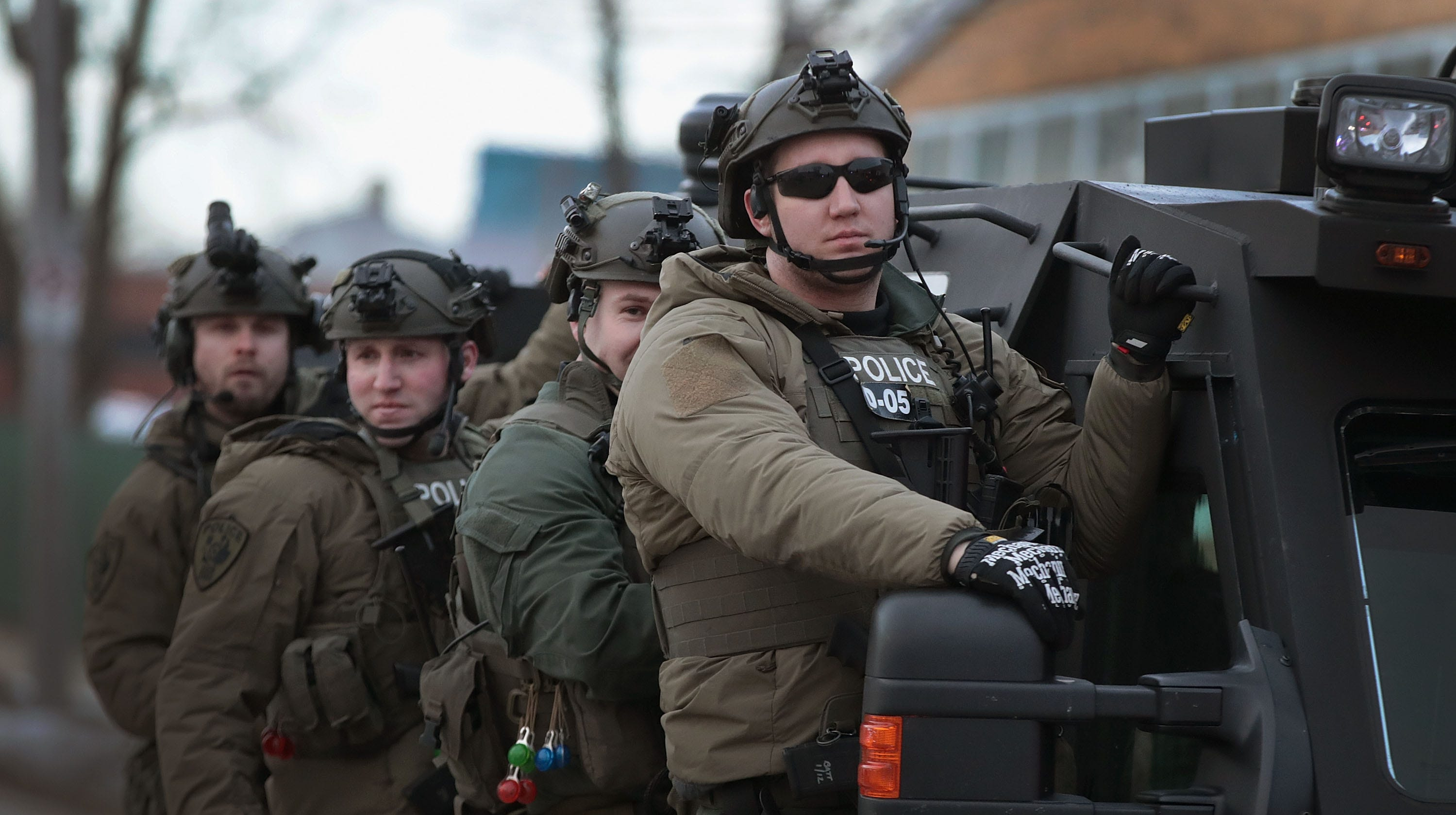 Police secure the area following a shooting at the Henry Pratt Company on February 15, 2019 in Aurora, Illinois. Five people were reported dead and 5 police officers wounded from the shooting. The gunman has been identified as Gary Martin, a 45-year-old man believed to be an employee at the company.