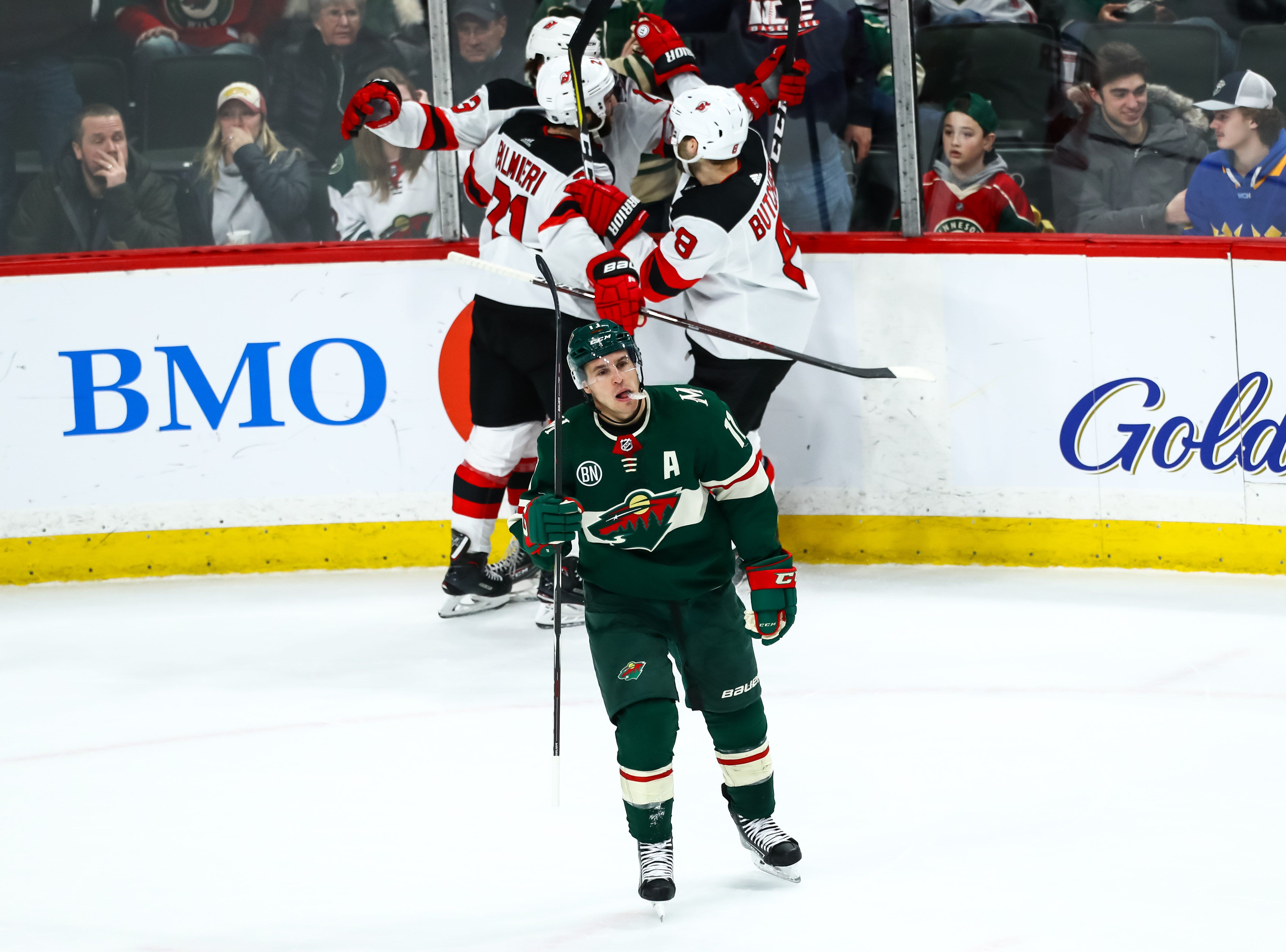 Feb. 15: Minnesota Wild left wing Zach Parise (11) reacts after New Jersey Devils center Nico Hischier (13) scores the game-winning goal in overtime at Xcel Energy Center.