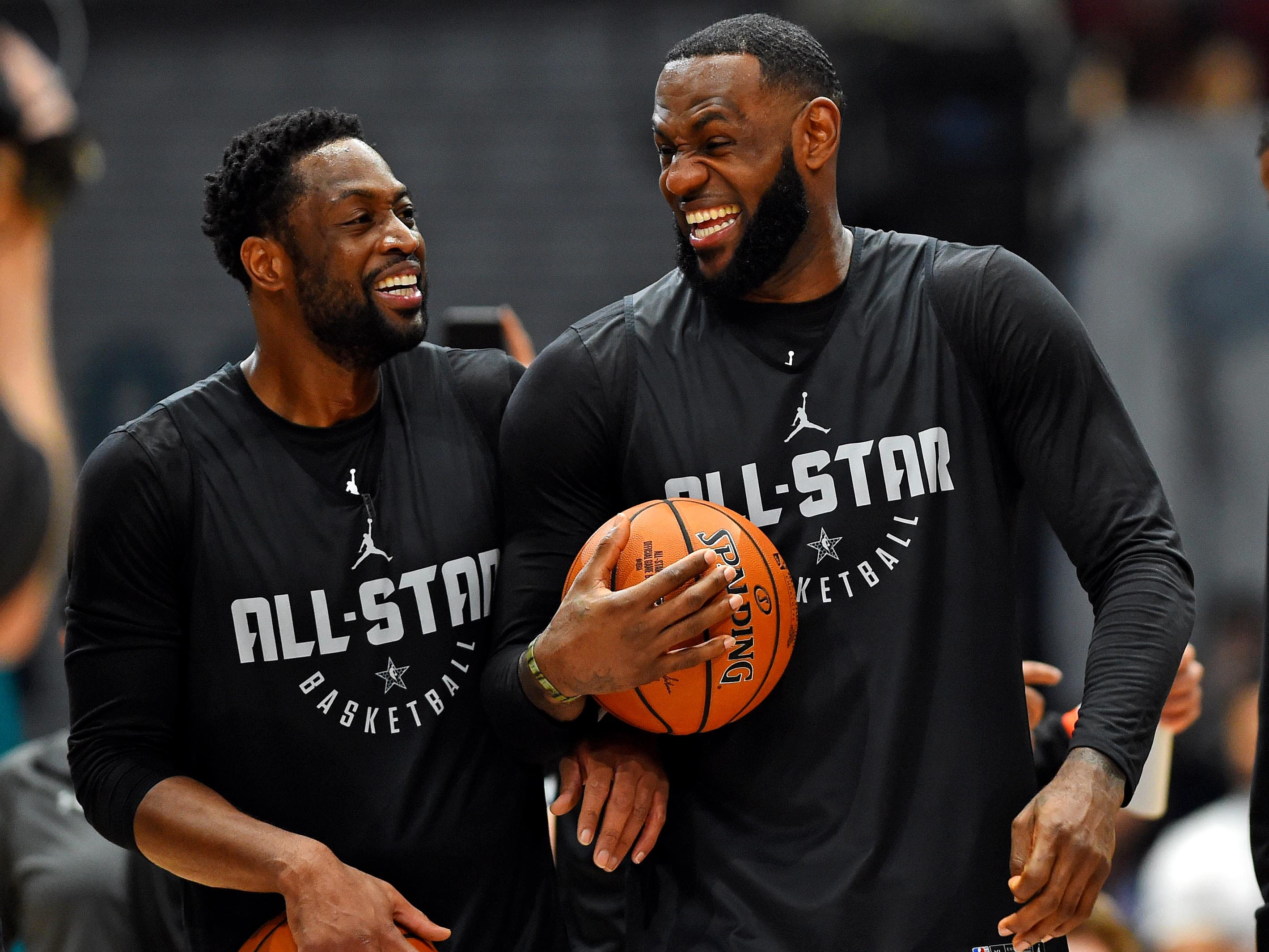 Lebron James and Dwayne Wade during NBA All-Star Game practice at the Bojangles Coliseum.