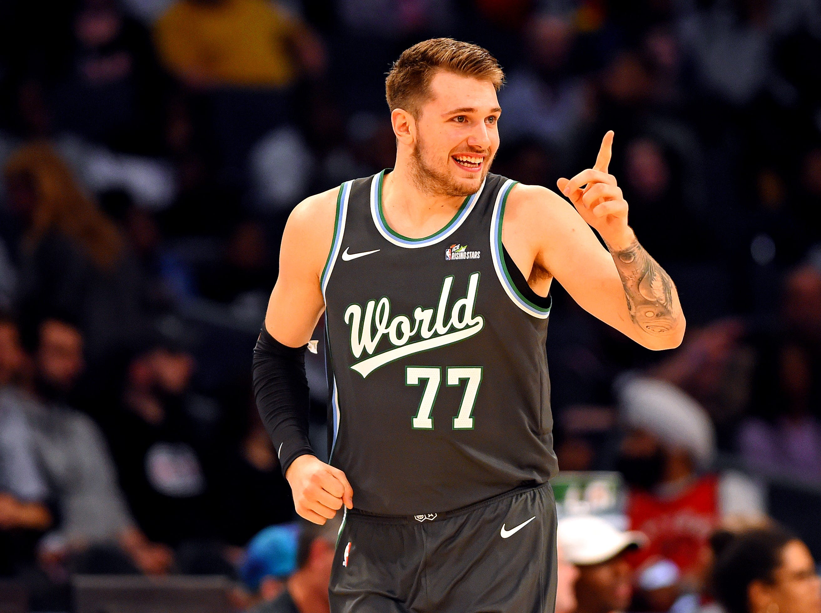 World Team guard Luka Doncic of the Dallas Mavericks reacts during the All-Star Rising Stars game.