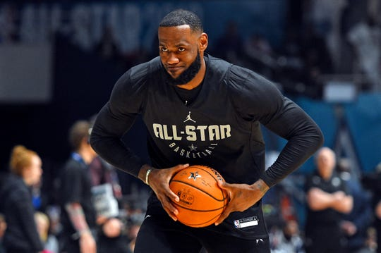 LeBron James during All-Star Game practice on Saturday.