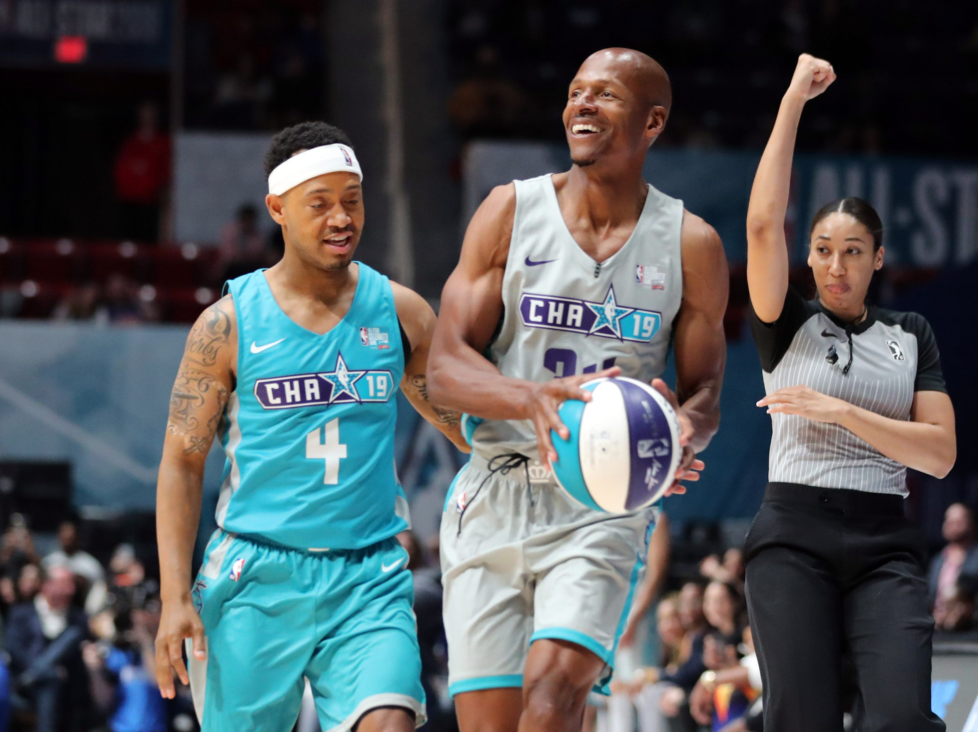 Ray Allen is fouled by Terrence J during the Celebrity Game.