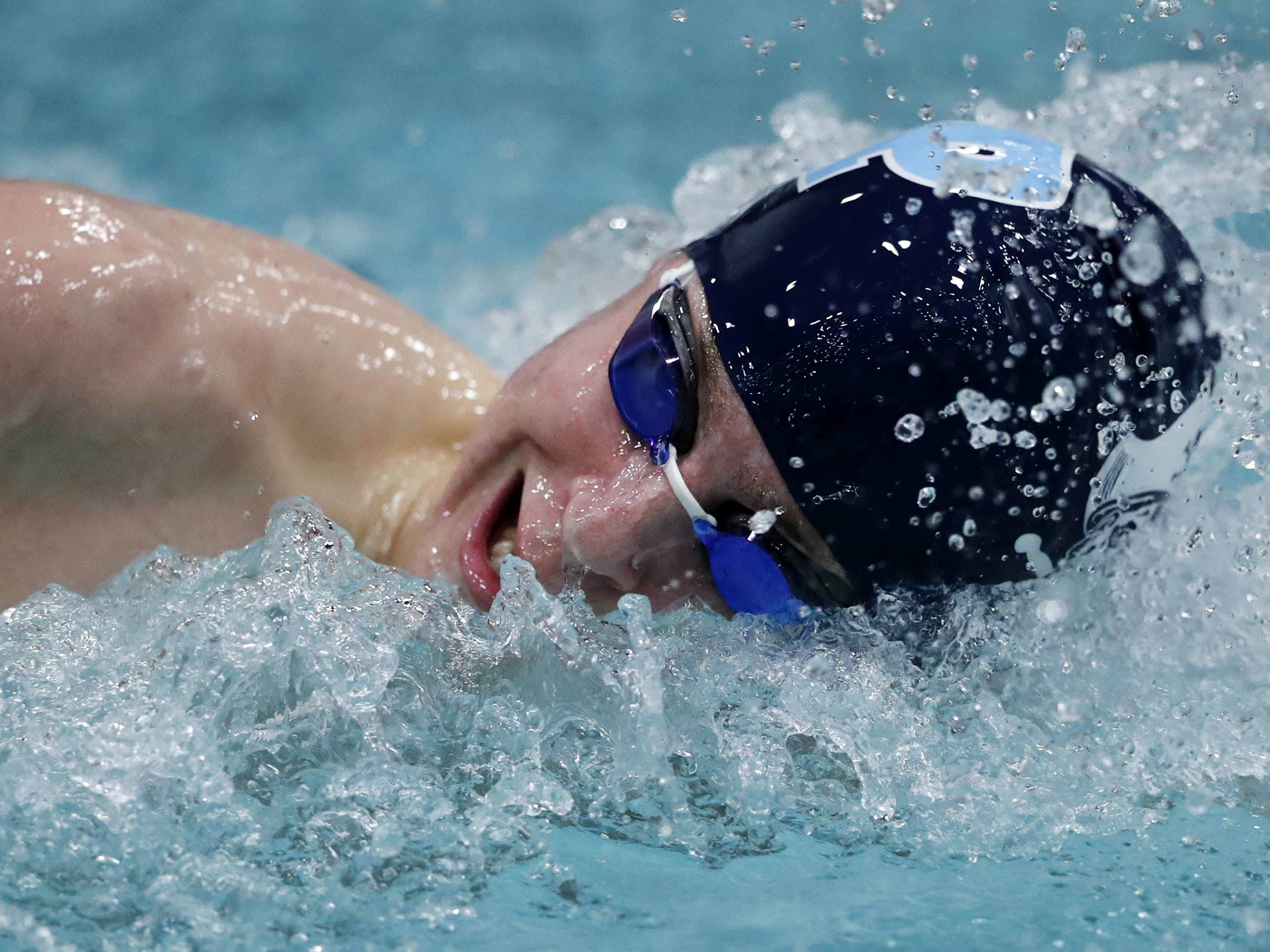 Bay PortÕs  Lucas Thibert races in the 500 yard freestyle during the Division 1 2019 State Boys Swimming and Diving Championships Saturday, Feb. 16, 2019, at the UW Natatorium in Madison, Wis. Danny Damiani/USA TODAY NETWORK-Wisconsin