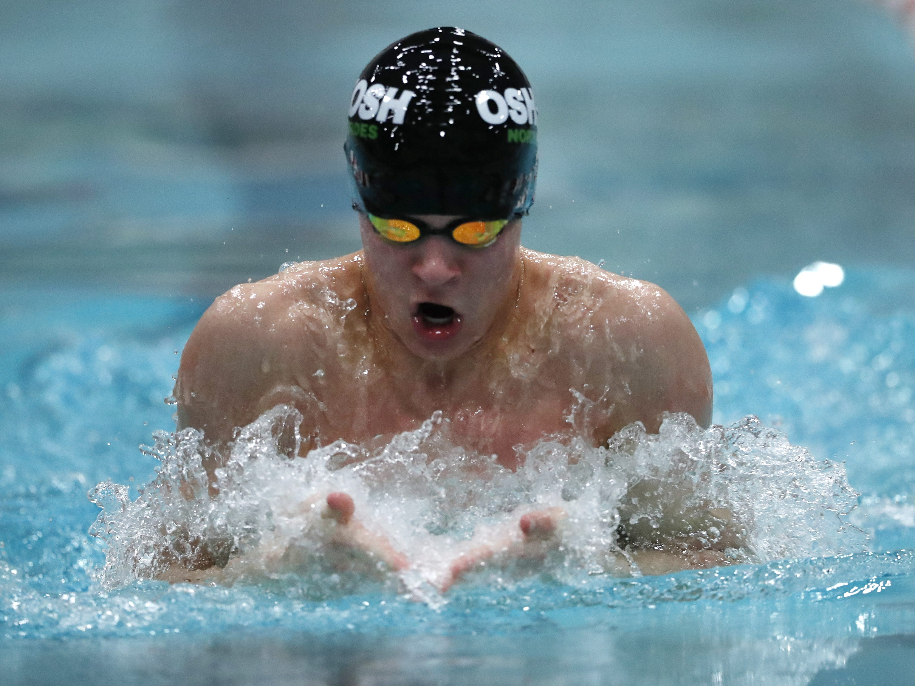 Oshkosh North/Lourdes AcademyÕs  Eddie Hansen races in the 100 yard breaststroke during the Division 1 2019 State Boys Swimming and Diving Championships Saturday, Feb. 16, 2019, at the UW Natatorium in Madison, Wis. Danny Damiani/USA TODAY NETWORK-Wisconsin