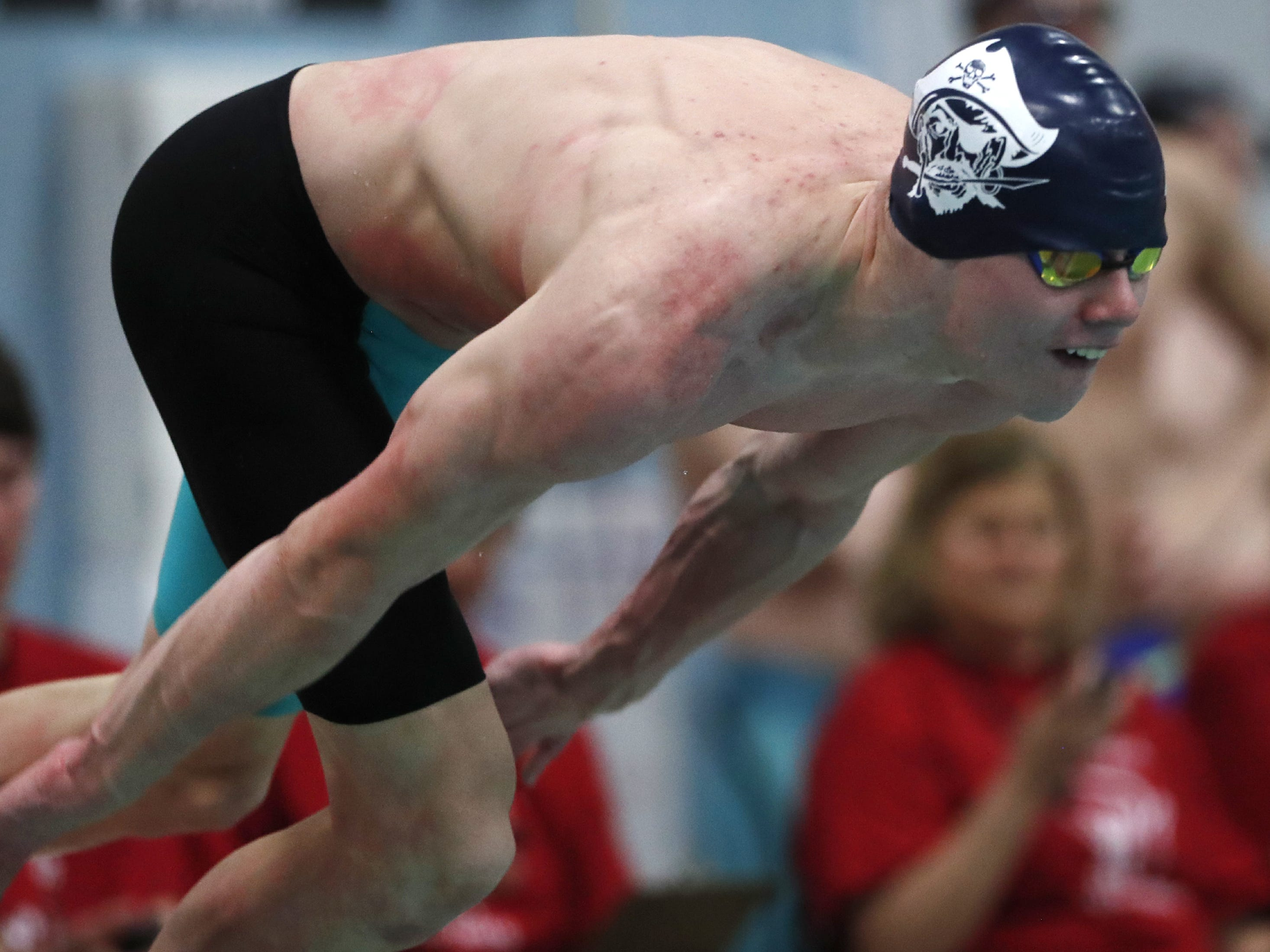 Bay PortÕs Griffin Hawley takes off in the 50 yard freestyle during the Division 1 2019 State Boys Swimming and Diving Championships Saturday, Feb. 16, 2019, at the UW Natatorium in Madison, Wis. Danny Damiani/USA TODAY NETWORK-Wisconsin