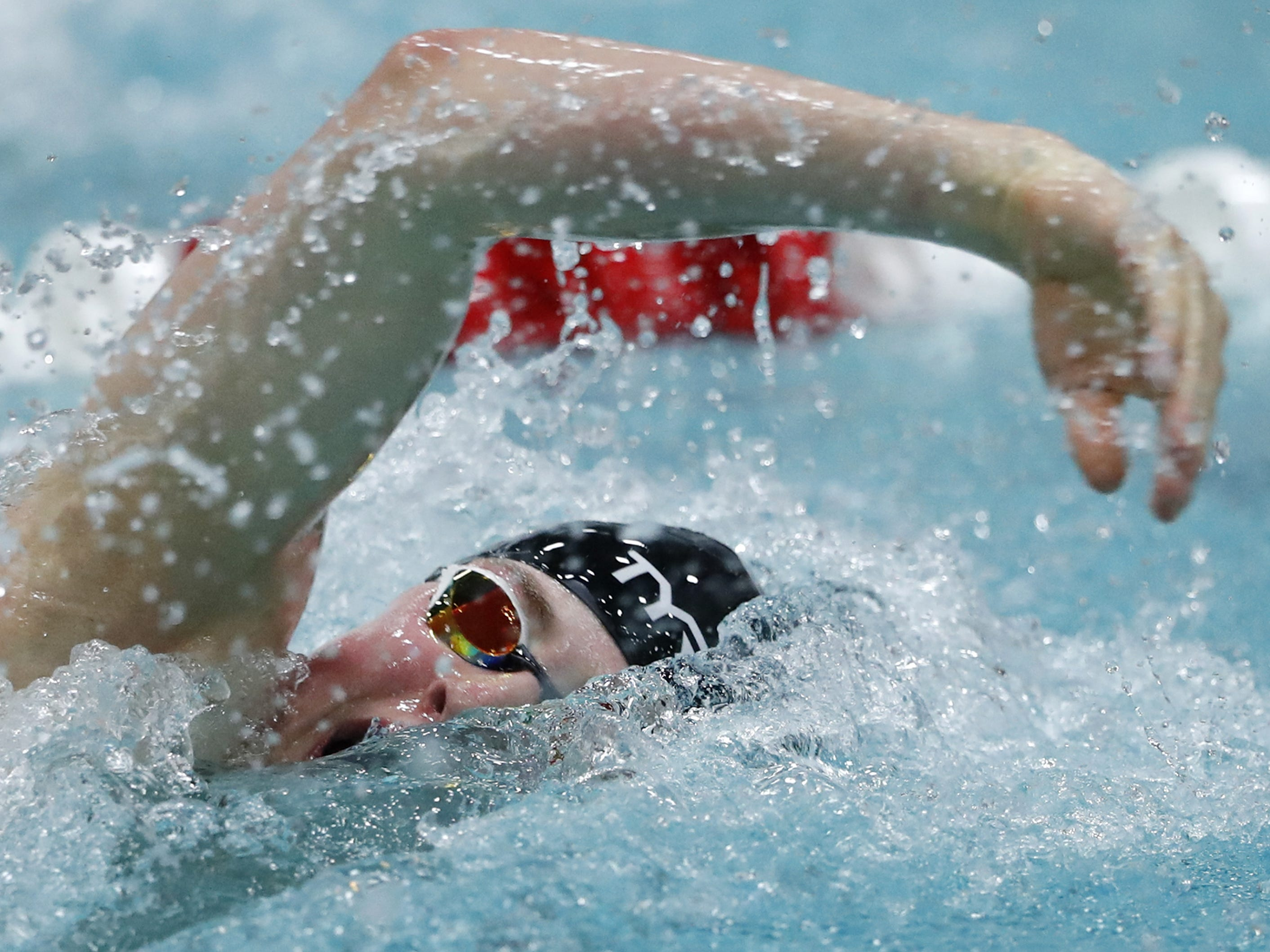 Stevens PointÕs Drew Harris races in the 500 yard freestyle during the Division 1 2019 State Boys Swimming and Diving Championships Saturday, Feb. 16, 2019, at the UW Natatorium in Madison, Wis. Danny Damiani/USA TODAY NETWORK-Wisconsin