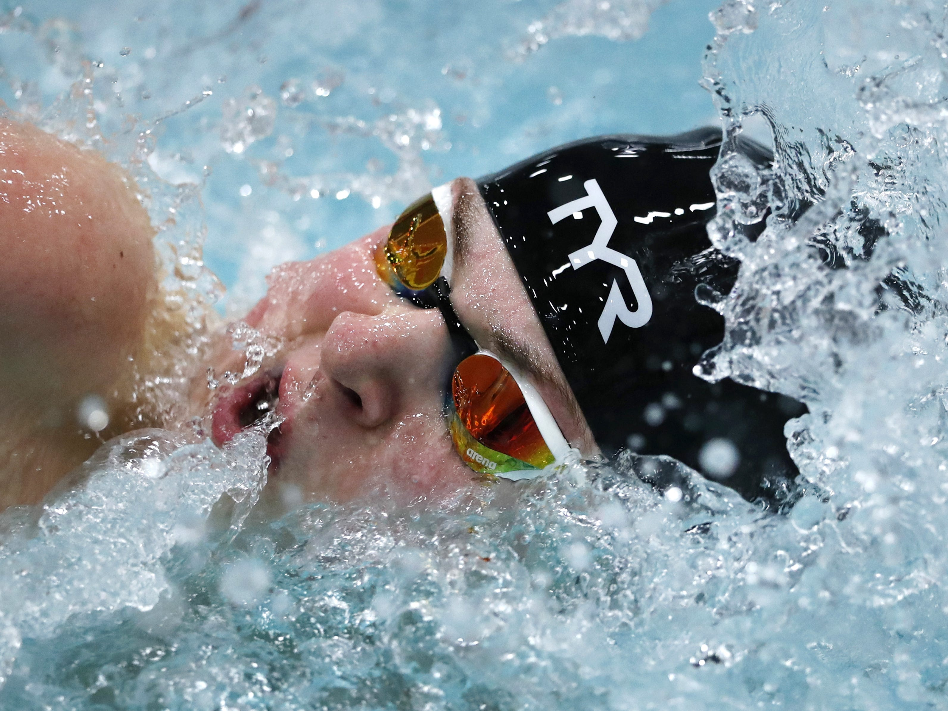Stevens PointÕs Drew Harris races in the 400 yard freestyle relay during the Division 1 2019 State Boys Swimming and Diving Championships Saturday, Feb. 16, 2019, at the UW Natatorium in Madison, Wis. Danny Damiani/USA TODAY NETWORK-Wisconsin