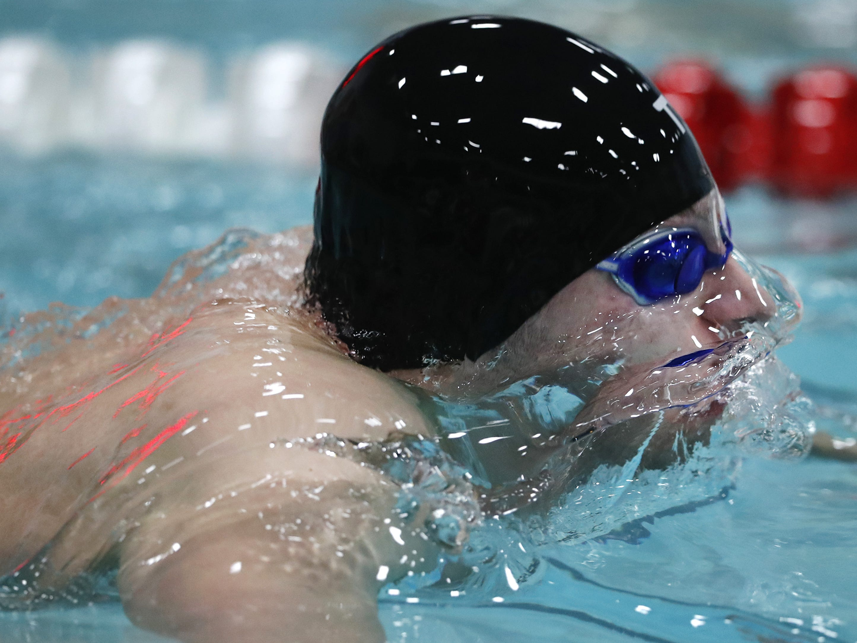 Sheboygan NorthÕs Andrew Leal breaks through the surface of the water while racing in the 100 yard butterfly during the Division 1 2019 State Boys Swimming and Diving Championships Saturday, Feb. 16, 2019, at the UW Natatorium in Madison, Wis. Danny Damiani/USA TODAY NETWORK-Wisconsin