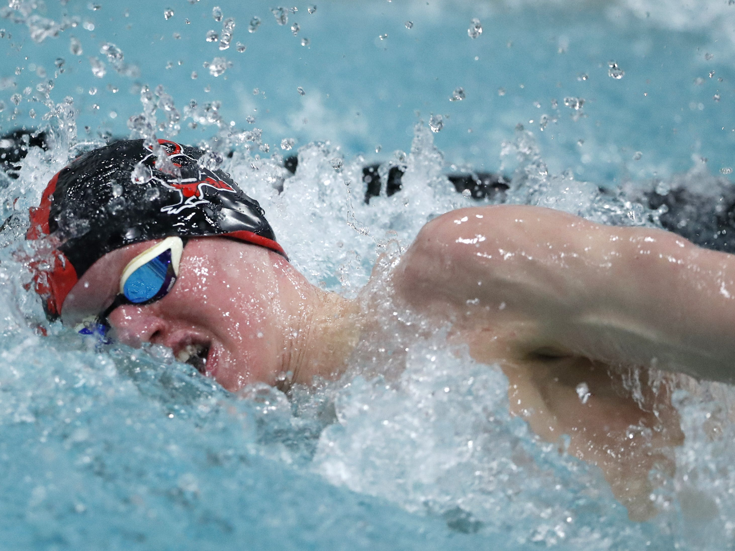 Waukesha South/Catholic MemorialÕs Caleb Blischke races in the 500 yard freestyle during the Division 1 2019 State Boys Swimming and Diving Championships Saturday, Feb. 16, 2019, at the UW Natatorium in Madison, Wis. Danny Damiani/USA TODAY NETWORK-Wisconsin