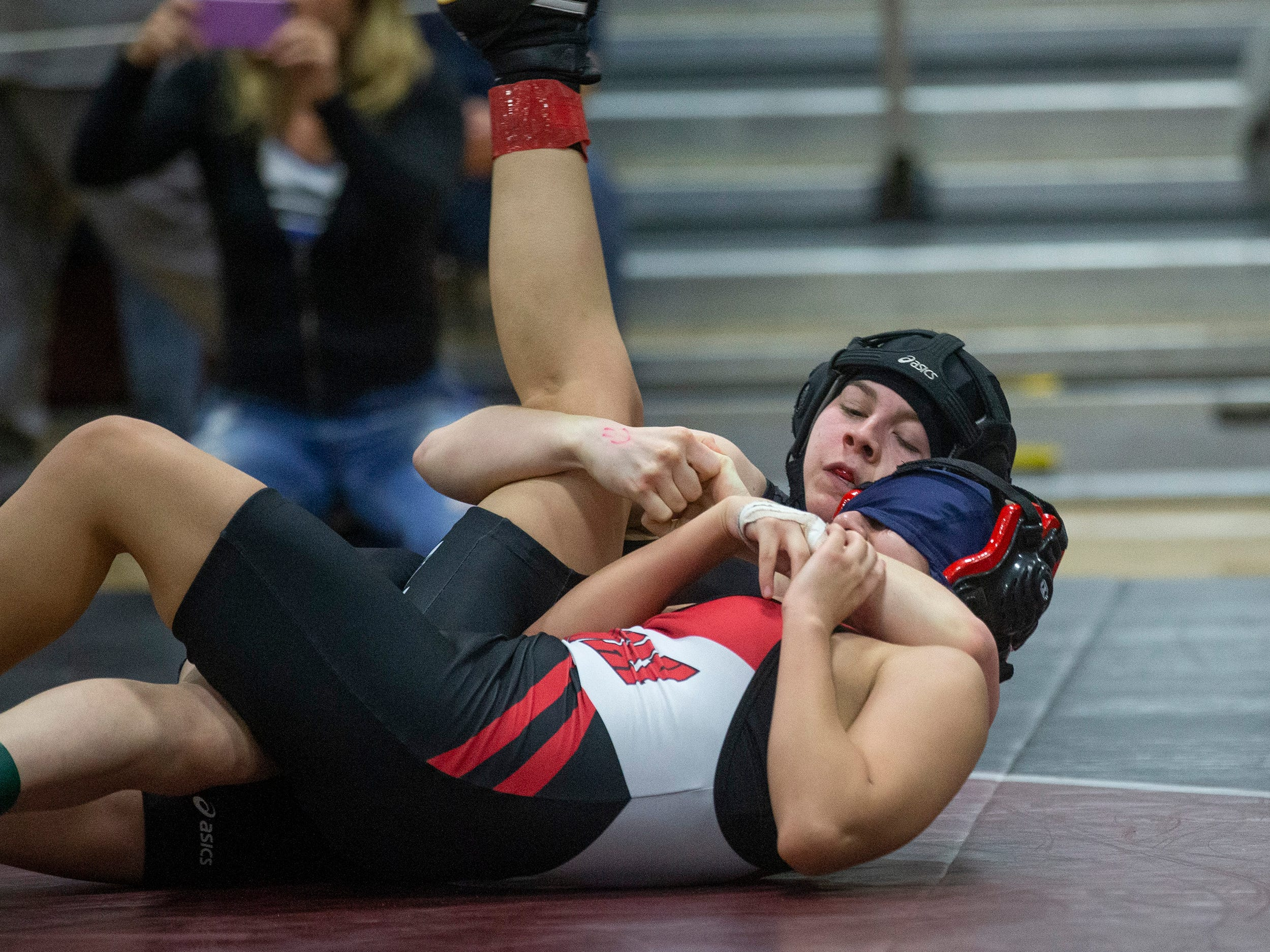 Highpoint's Randi Miley pins Rahway's Isabel Saire in the 105 lbs North Region final. NJSIAA Girls Region Wrestling at Red Bank Regional High School in Red Bank NJ on February 17, 2019.