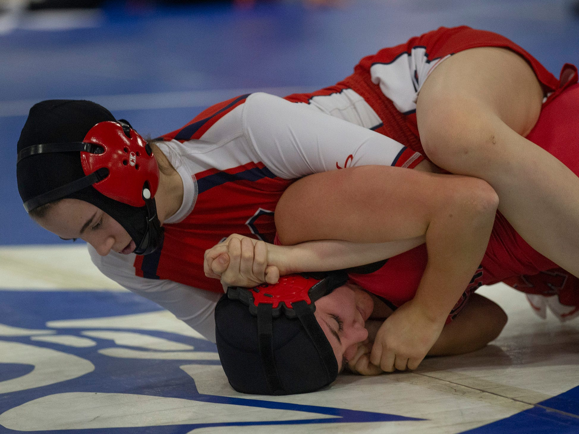 NJSIAA Girls Region Wrestling at Red Bank Regional High Manalapan's Jesse Johnson defeats Kingsway's Victoria Lipka in their 136 lbs. bout.   NJSIAA Girls Region Wrestling at Red Bank Regional High School in Red Bank NJ on February 17, 2019.