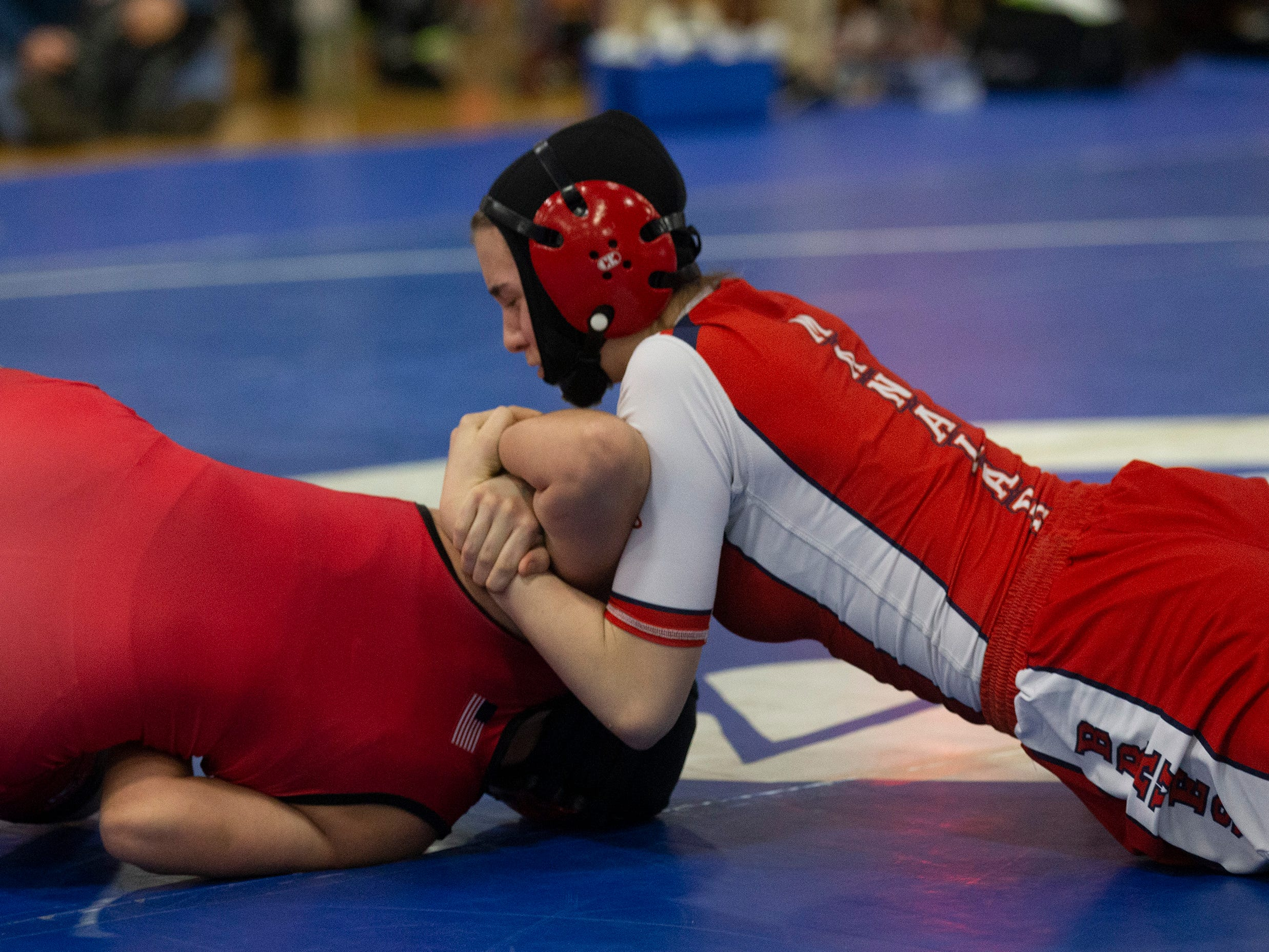 Manalapan's Jesse Johnson defeats Kingsway's Victoria Lipka in their 136 lbs. bout.   NJSIAA Girls Region Wrestling at Red Bank Regional High School in Red Bank NJ on February 17, 2019.