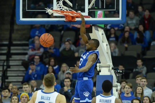 Seton Hall Pirates guard Quincy McKnight (0) dunks against Creighton Bluejays in the second  half at CHI Health Center Omaha.