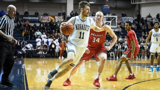 Monmouth's George Papas (11) hit four 3-pointers against Marist on Sunday, but it wasn't enough as the Red Foxes emerged with a 75-67 victory in West Long Branch.