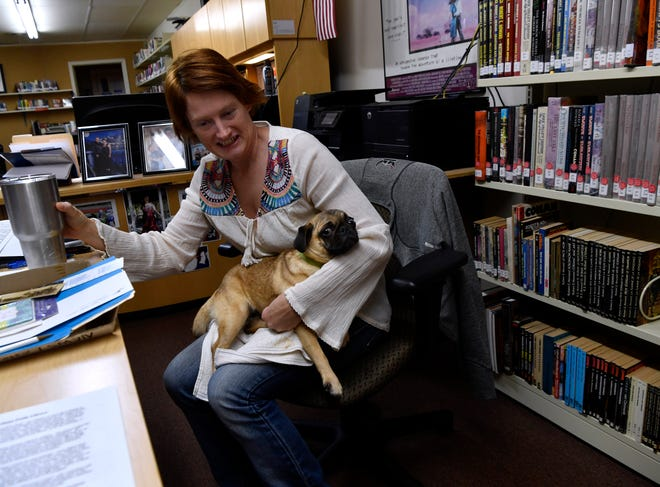 Rebecca Collier, holding her sleepy dog Puggers, rolls up to a conference table Jan. 17 at the Cross Plains Public Library.The library is celebrating 40 years this month.