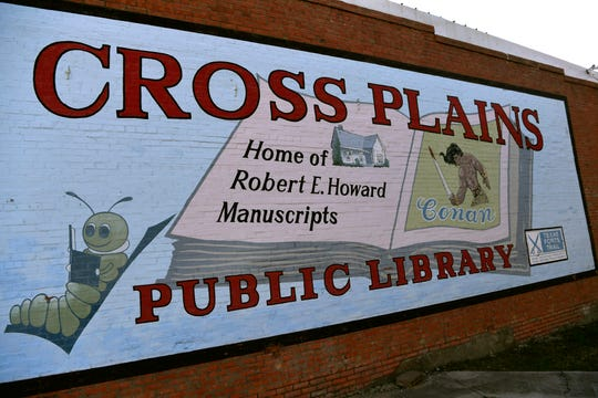 The mural honoring Cross Plains' most famous resident overlooks the park next to the library.