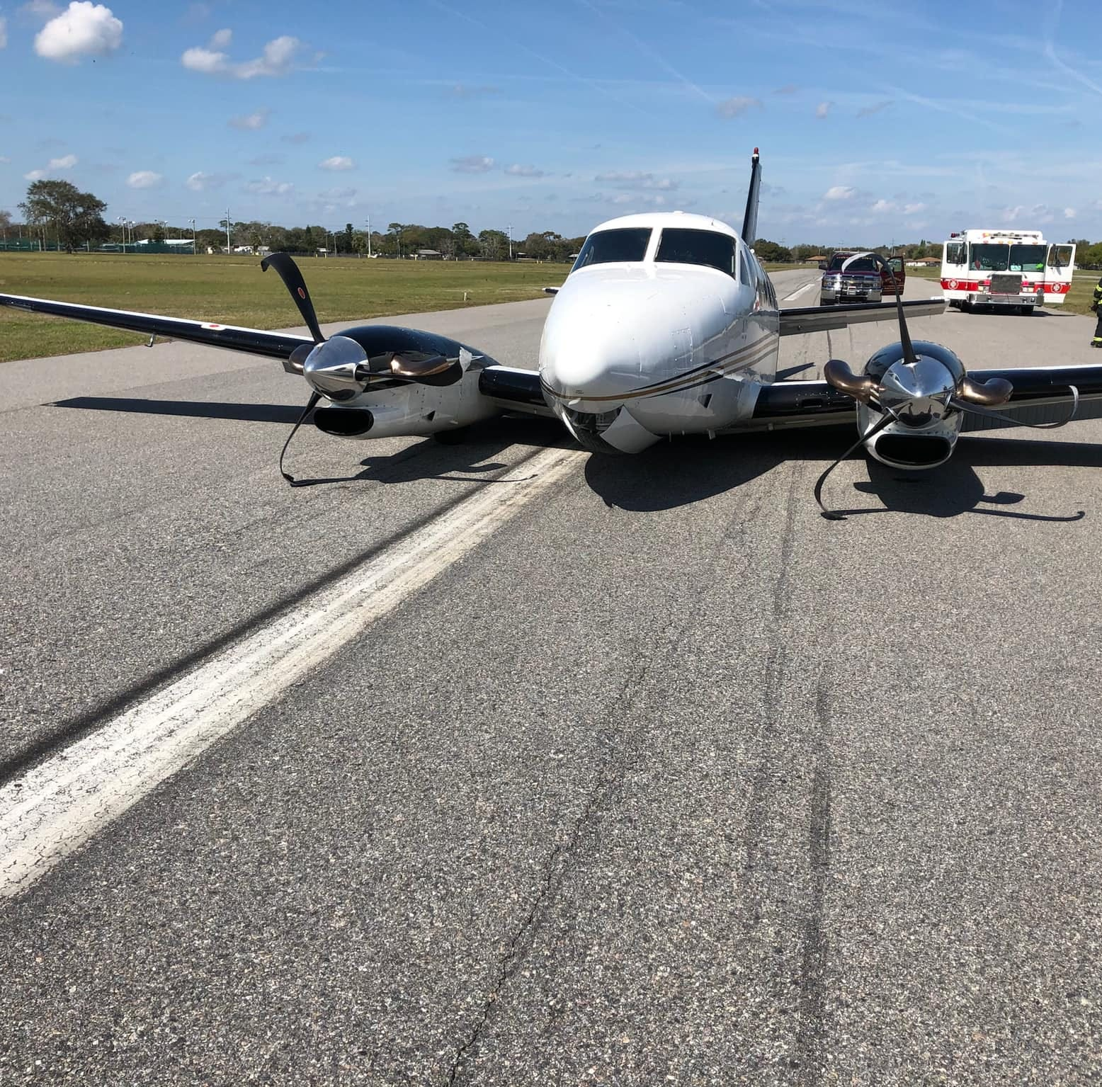 No one was injured after a small aircraft made a belly landing at a Titusville airport.