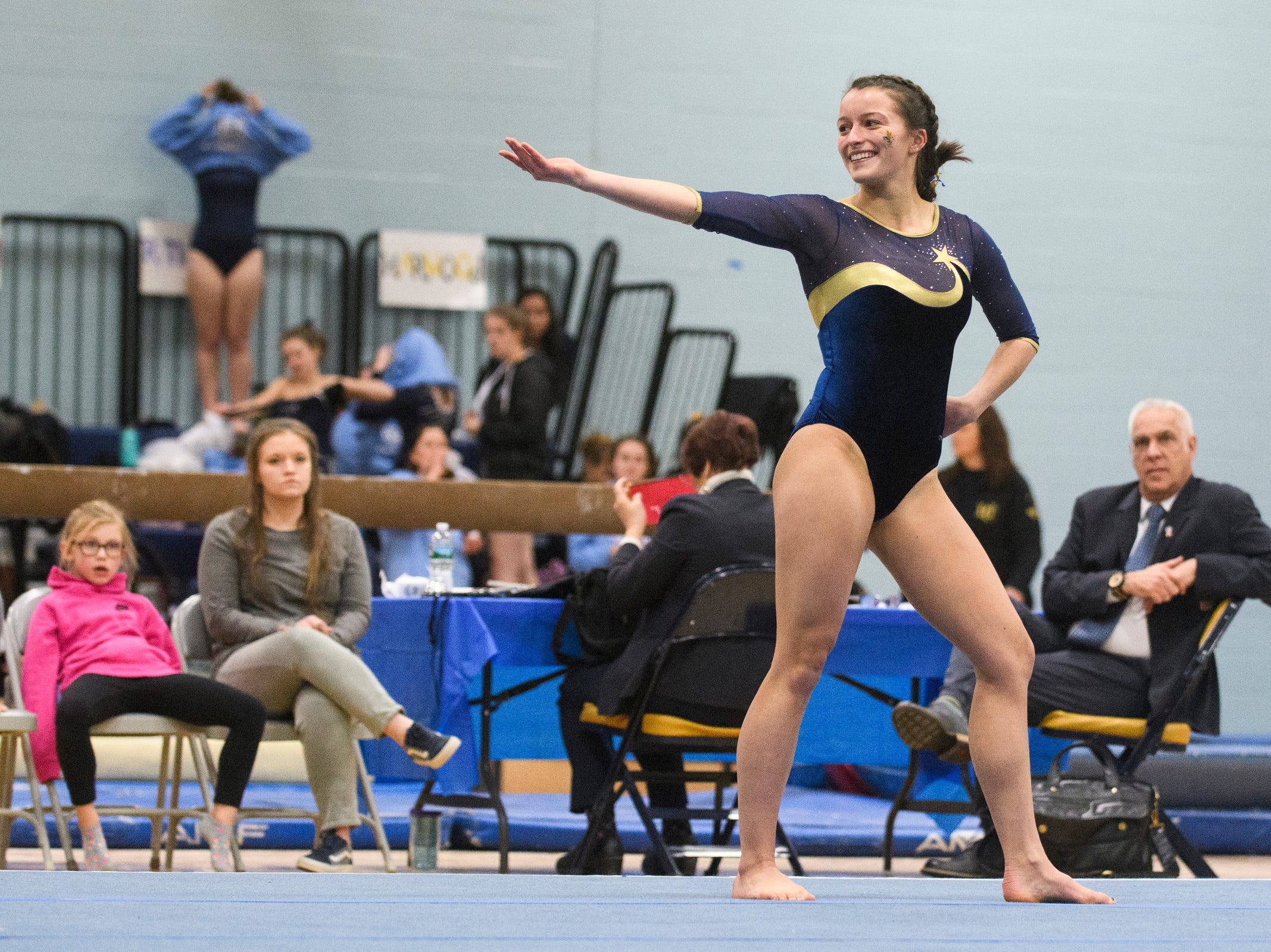 Essex's Abigael Gleason comets in the floor routine during the 2019 high school gymnastics championship at Essex High School on Saturday afternoon February 16, 2019 in Essex, Vermont.