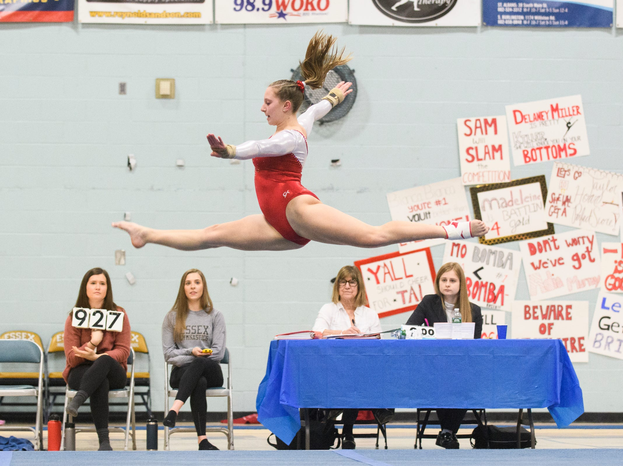 CVU's Laurynn Bombardier competes in the floor routine during the 2019 high school gymnastics championship at Essex High School on Saturday afternoon February 16, 2019 in Essex, Vermont.