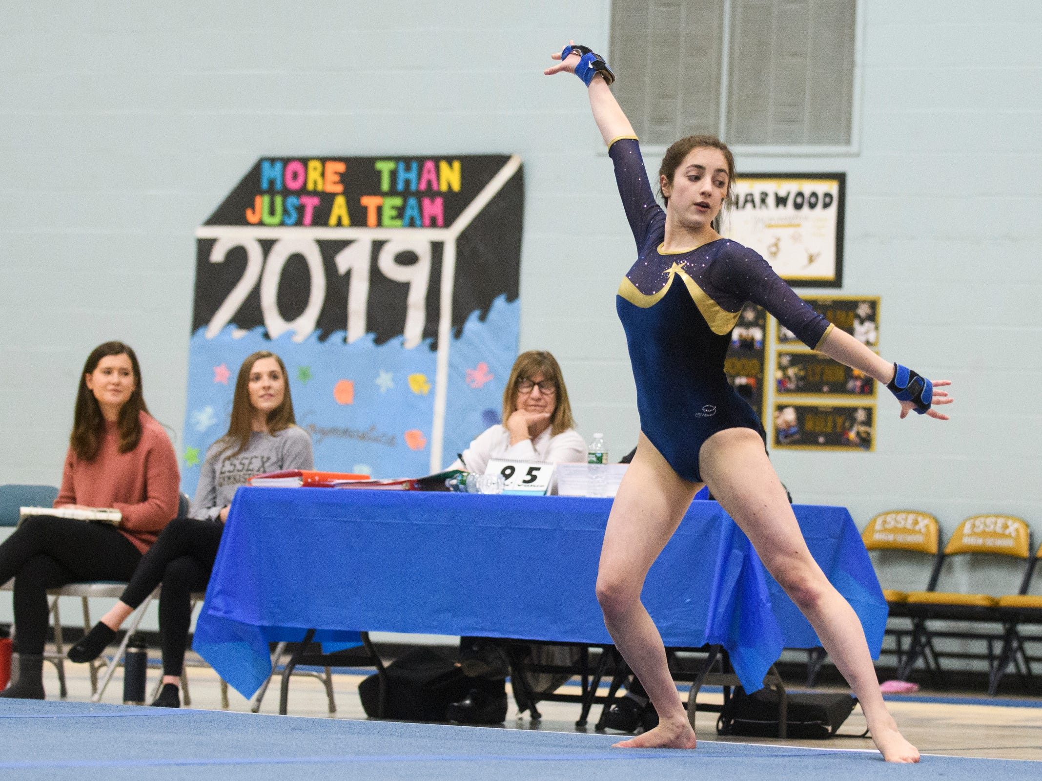 Essex's Kiara Keenan comets in the floor routine during the 2019 high school gymnastics championship at Essex High School on Saturday afternoon February 16, 2019 in Essex, Vermont.