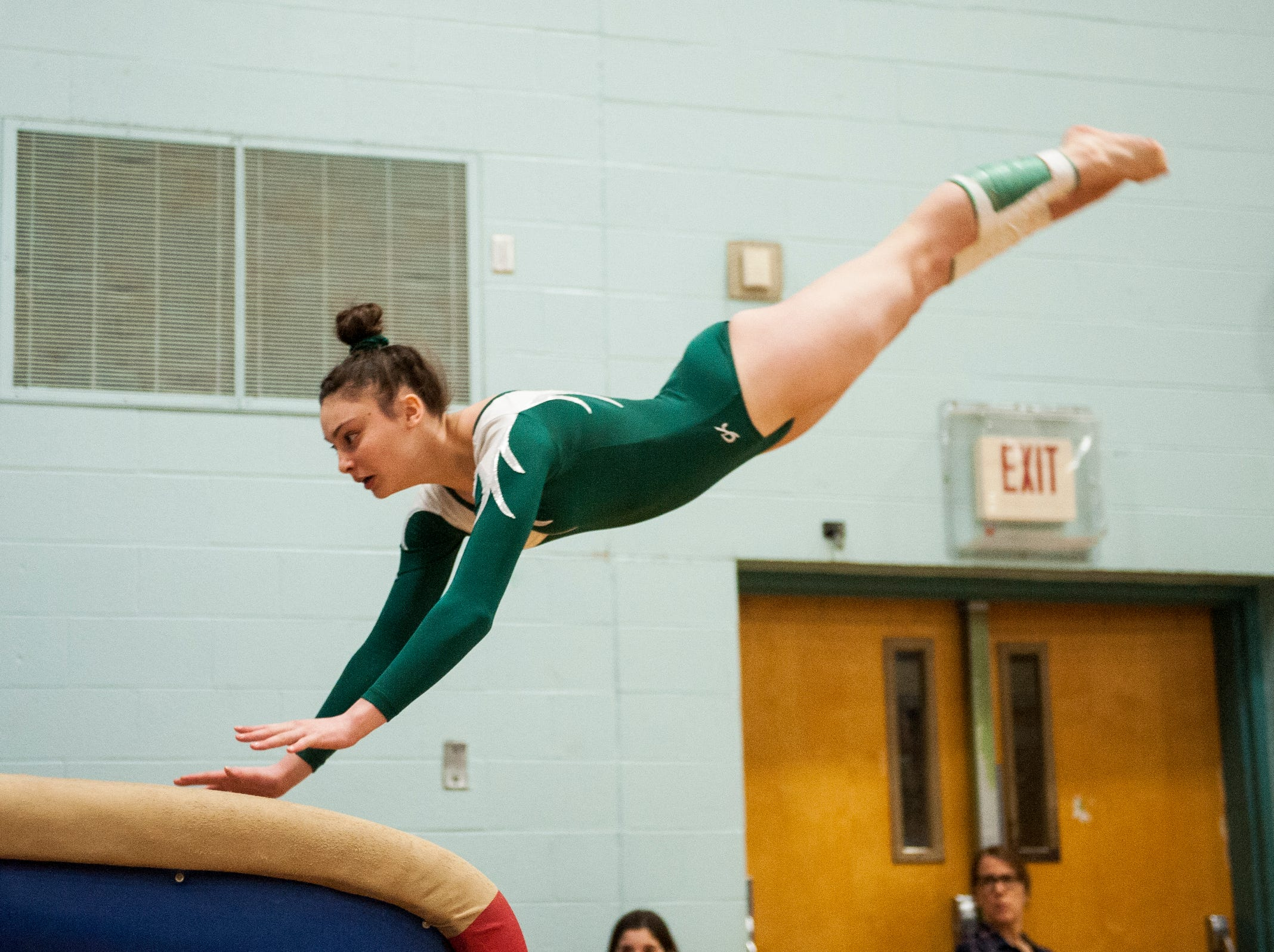 St. Johnsbury's Lizzy Jones competes in the vault during the 2019 high school gymnastics championship at Essex High School on Saturday afternoon February 16, 2019 in Essex, Vermont.