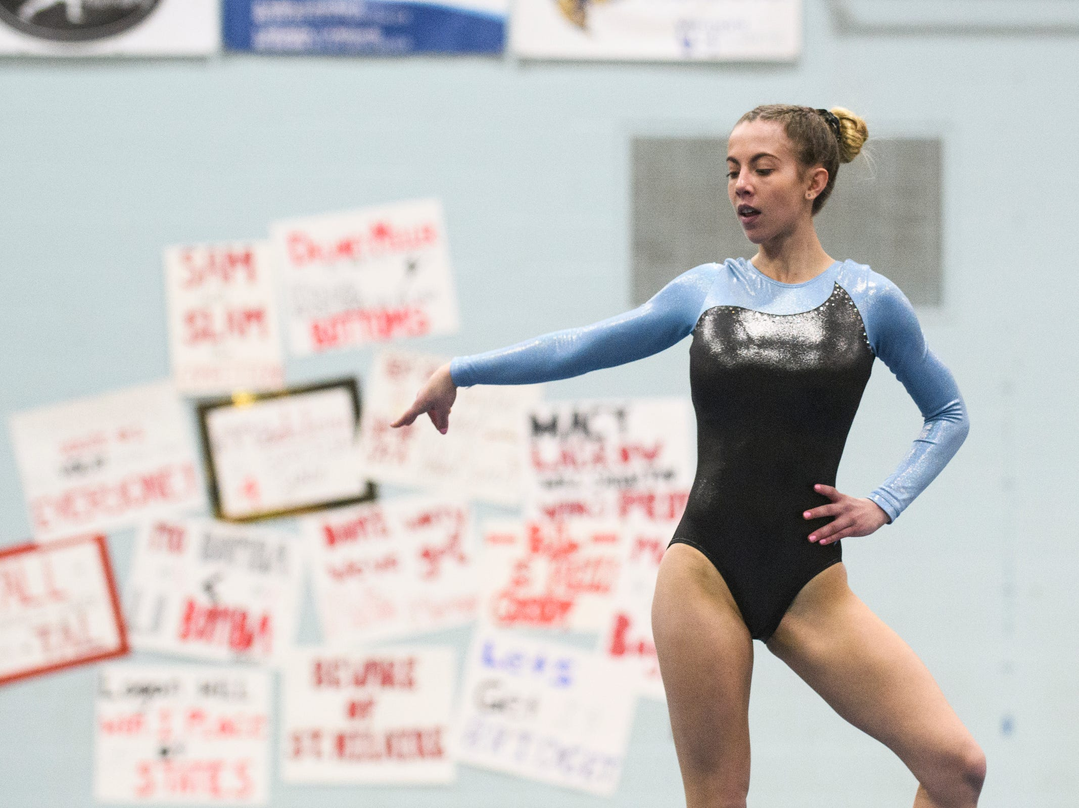 South Burlington's Diana Gregoire competes in the floor routine during the 2019 high school gymnastics championship at Essex High School on Saturday afternoon February 16, 2019 in Essex, Vermont.