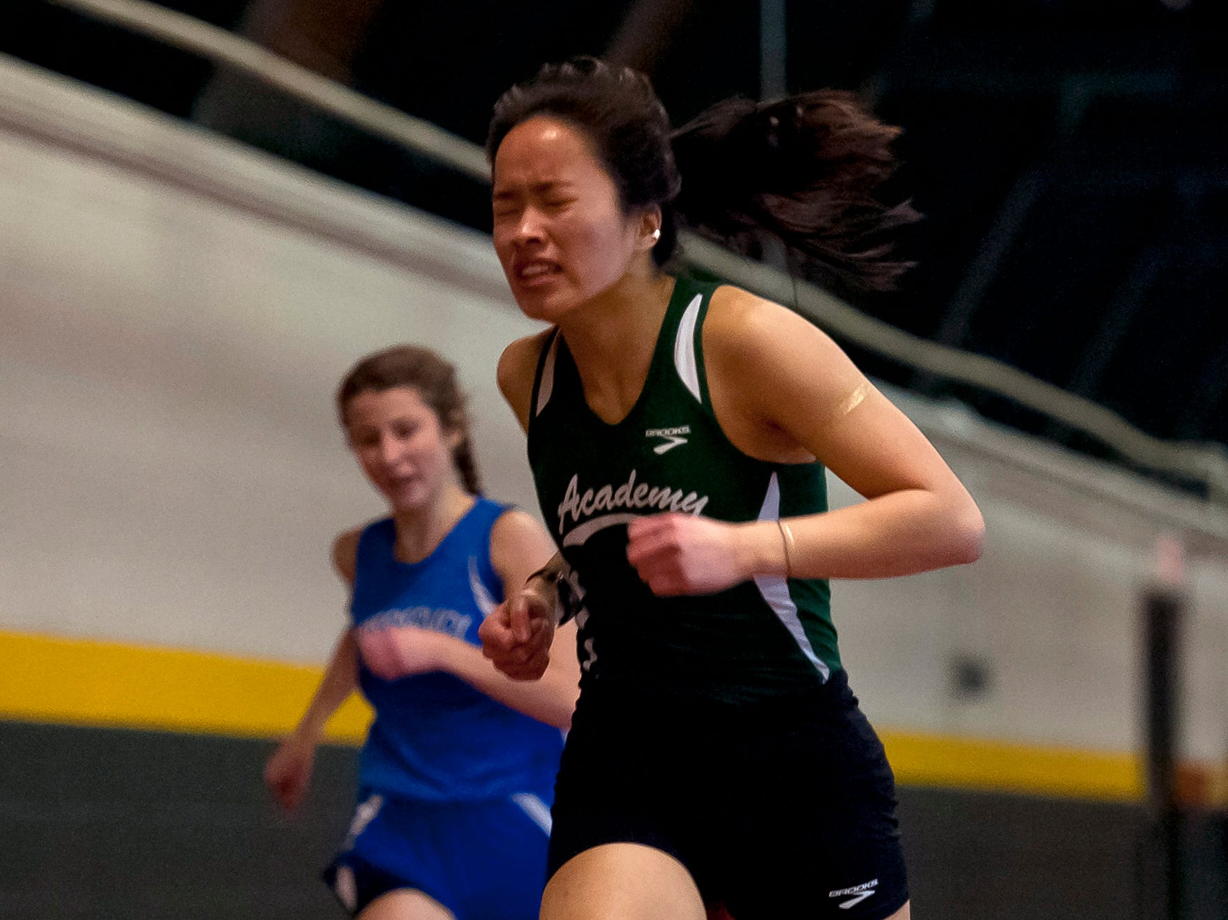 St. Johnsbury's Lia Rotti crosses the finish line in the girls 300 meters at the high school indoor track state championships at the University of Vermont on Saturday.