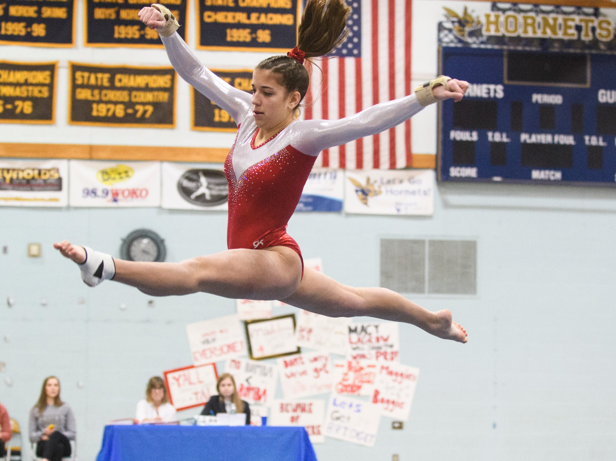CVU's Taylor Hoar competes in the floor routine during the 2019 high school gymnastics championship at Essex High School on Saturday afternoon February 16, 2019 in Essex, Vermont.