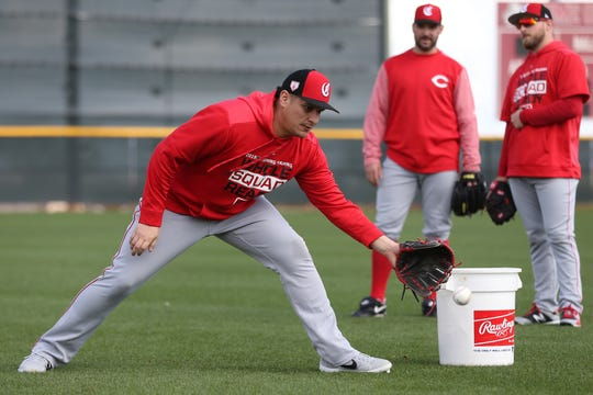 Cincinnati Reds relief pitcher David Hernandez (37) participates in fielding drills, Sunday, Feb. 17, 2019, at the Cincinnati Reds spring training facility in Goodyear, Arizona.