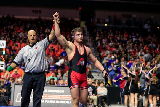 Julien Broderson of Assumption beats Kolton Bus of Central Lyon-G-LR for the 2A state wrestling championship at 195 pounds Saturday, Feb. 16, 2019.