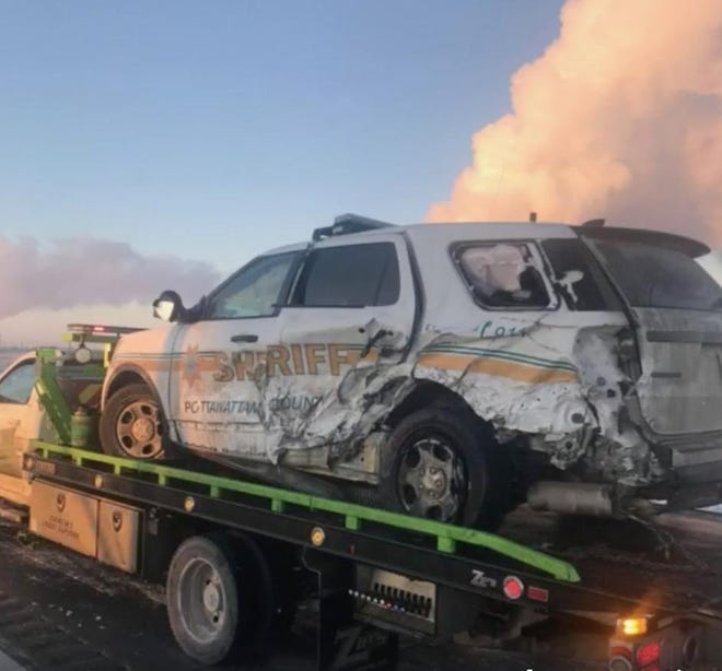 Pottawattamie County Sheriff's vehicle totaled by semi driver.