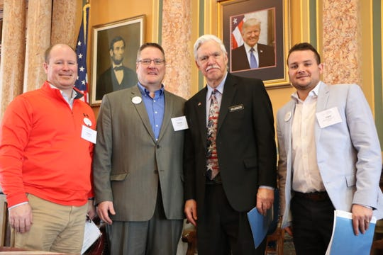 Iowa Chiropractic Society members Clayton Lowe of Winterset, Brent DeRocher of Norwalk and Tom Shiltz of Norwalk met with state Rep. Stan Gustafson at the state Capitol last week.